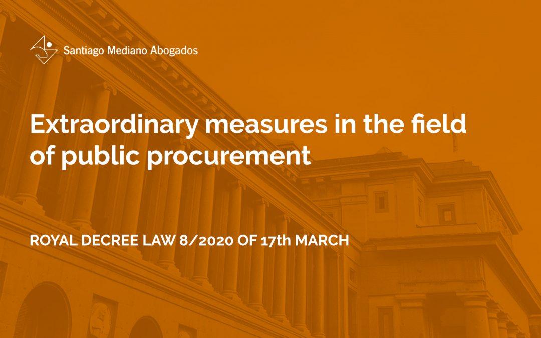 Extraordinary measures in the field of public procurement